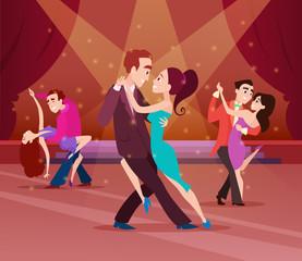 Couples on dance floor. Cartoon characters dancing