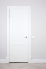 White door and switch on a light gray wall. Items bright interior