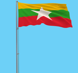 Isolate flag of Myanmar on a flagpole fluttering in the wind on a blue background, 3d rendering.