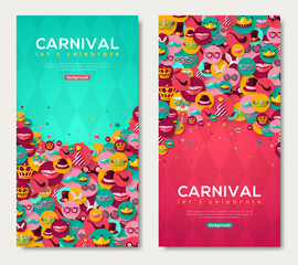 Carnival Vertical Banners With Flat Icons in Circles