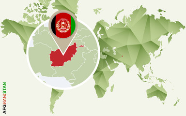 Infographic for Afghanistan, detailed map of Afghanistan with flag.