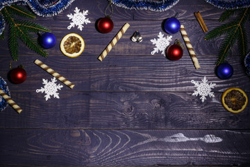 Christmas frame on wooden background with blank space