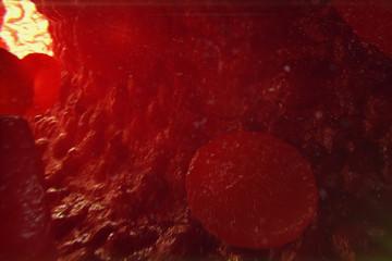 3D Illustration red blood cells in vein. Red blood cells flow in vessel. medical human health-care concept.