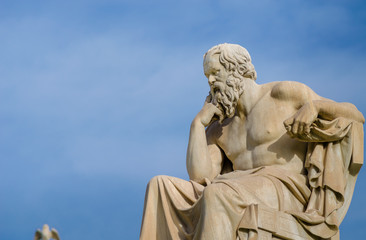Marble statue of the greatest philosopher of ancient Greece Socrates.
