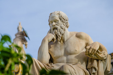 Close up of a marble statue of the greatest philosopher of ancient Greece Socrates.