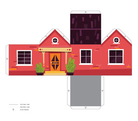 Make your own house cute 3D paper craft vector print assembly model