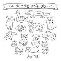 Cute Animals Doodle Set. Vector illustration for your cute design.