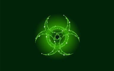 Toxic biohazard epidemic danger alert. Futuristic low poly night sky stars pollution waste attention caution hazard virus web concept triangle polygonal line neon green vector illustration