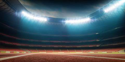 Custom vertical slats sports with your photo stadium with track, night view with illumination