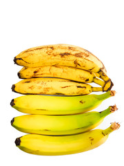 Ripe yellow bananas on white background, view from above, yellow fruits, yellow bananas, food, meal, vitamins.