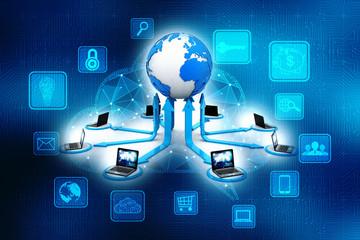 Computer Network, Internet Communication concept. 3d rendering