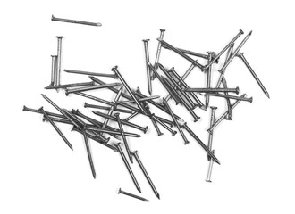 pile of metal nails isolated on white background, top view