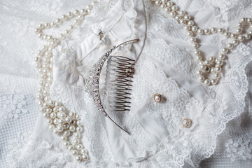 Tiara and pearls with wedding dress