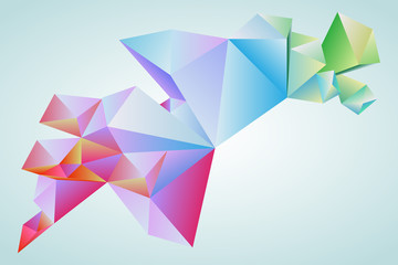 Abstract pattern. Set of faceted 3d-colorful forms, banners. , horizontal orientation