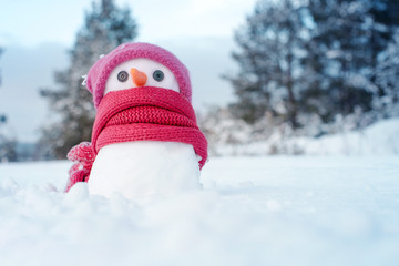 Little snowman girl in a pink knitted hat and a scarf on snow in the winter. Festive background with a lovely snowman. Christmas card, copy space