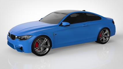 Blue Sports car. 3d rendering.