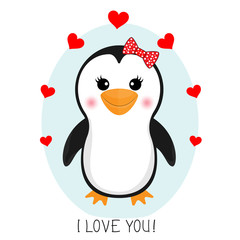 Little cute  penguin with a red hearts.  Greetig card..