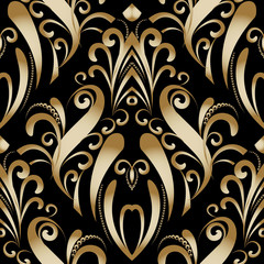 Gold vintage luxury floral seamless pattern. Damask vector background. Hand drawn golden antique flowers, dots, lines, swirls. Decorative beautiful ornaments. Luxury design for wallpapers, fabric