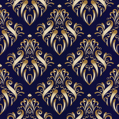 Gold damask floral seamless pattern. Flourish vector background. Hand drawn golden antique flowers, dots, lines, swirls. Antigue beautiful ornaments. Luxury design for wallpapers, fabric, prints.