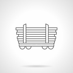 Platform car for long freights line vector icon