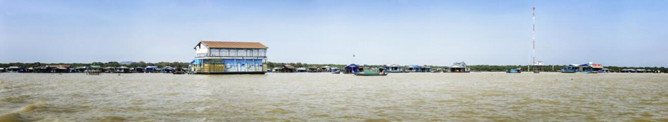 Panorama of Homes on stilts on the floating village of Kampong Phluk, Tonle Sap lake, Siem Reap province, Cambodia