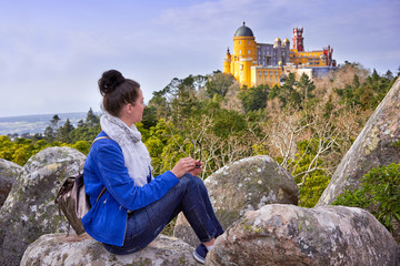 Palace of Pena, Woman traveler in Sintra, Lisboa