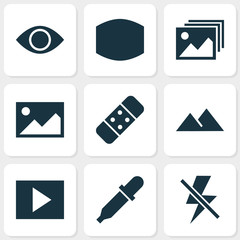 Photo icons set with plaster, monitor, lightning and other picture