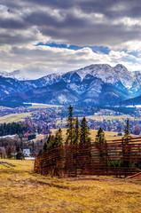 Wall Mural - Winter mountains panorama of Zakopane,  High Tatra Mountains, Po