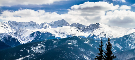 Wall Mural - Winter mountains panorama of Zakopane,  High Tatra Mountains, Poland