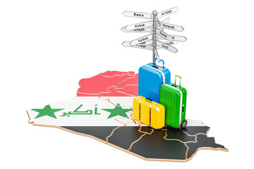 Iraq travel concept. Iraqi map with suitcases and signpost, 3D rendering