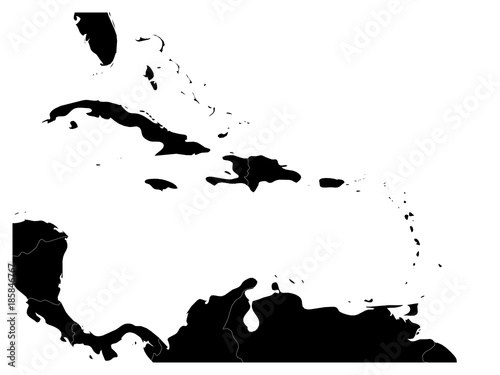 Map of Caribbean region and Central America. Black land ...