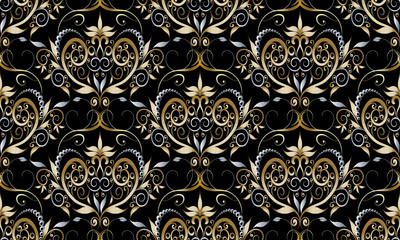 Vintage damask seamless pattern. Vector black floral background with gold silver hand drawn flowers, leaves, swirls, dots, curves. Luxury wallpaper. Elegance ornate design for fabric, textile, prints