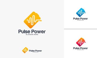 Pulse Power logo designs vector, Health Battery logo template