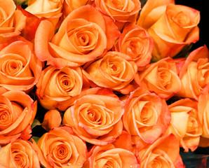 Fototapete - Fresh orange roses bouquet flower background