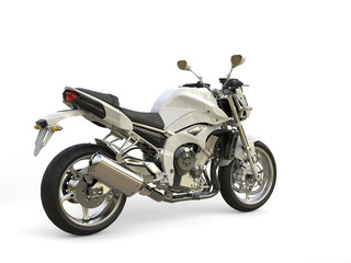 Bright white modern sports motorcycle - tail view