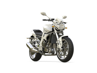 Bright white modern sports motorcycle