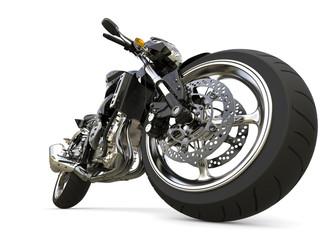 Pitch black modern sports motorcycle - epic closeup shot