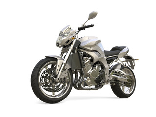 Super silver modern sports bike - beauty shot