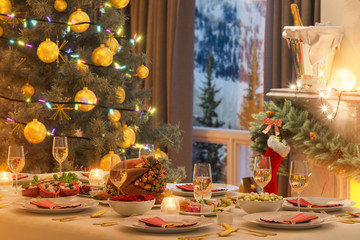 3d illustration of a Christmas family dinner table. An image for a postcard or a poster. Interior design with fireplace