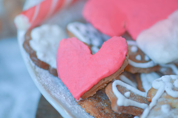 Heart shaped cookies for Valentine day. Love concept in pastel colors.