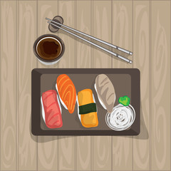 sushi japanese food graphic object top view