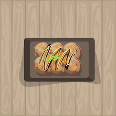 takoyaki japanese food graphic object top view