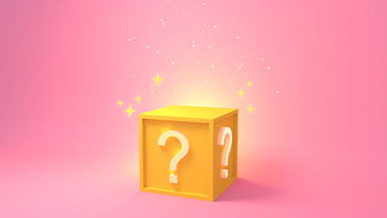 Cartoon golden yellow surprise box with question mark. 3d rendering picture.