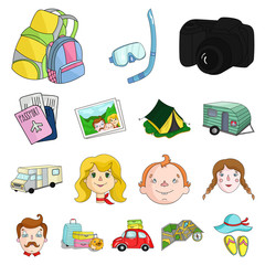 Family holiday cartoon icons in set collection for design. Recreation and equipment. vector symbol stock web illustration.