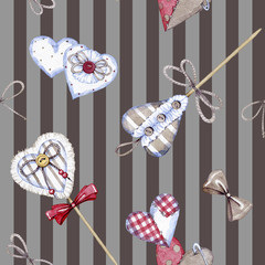 hand drawn watercolor seamless pattern made of textile hearts on Valentine's day