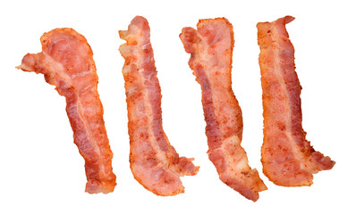 Four cooked, crispy fried bacon isolated on a white background. Good for many health and cooking inferences.