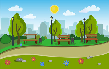Landscape of the city park. Vector illustration.