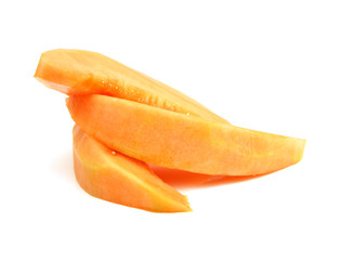 Several freshly cut cantaloupe slices on a white background.