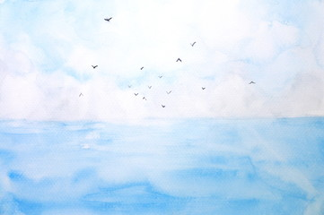watercolor landscape sea and sky with birds