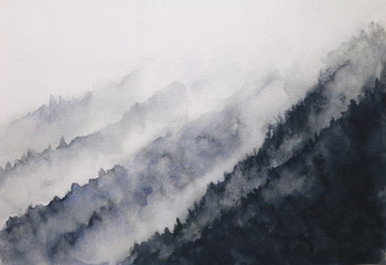 watercolor landscape mountain fog  asian art styles